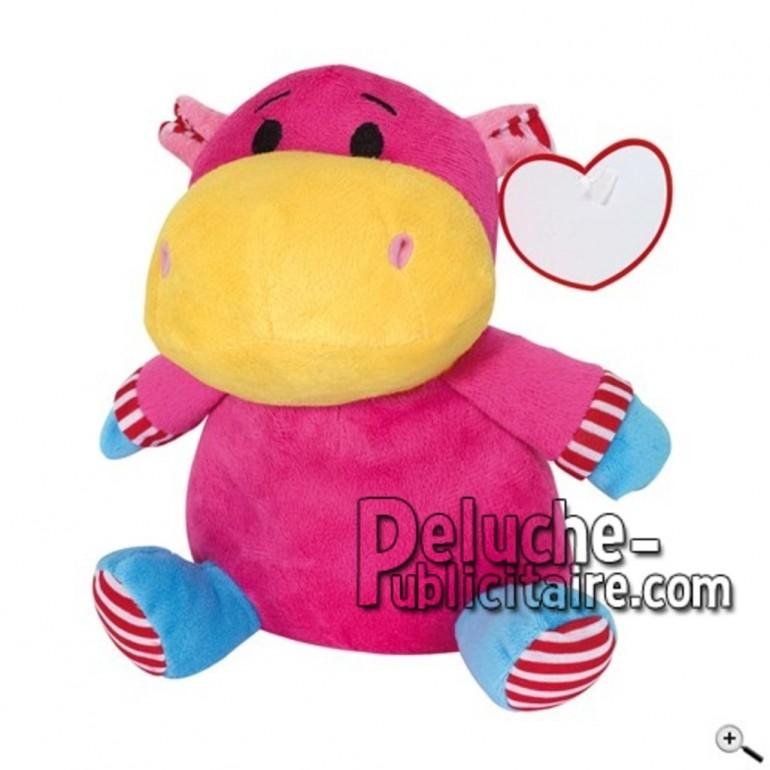 Achat peluche hippopotame rose 20cm. Peluche personnalisée.