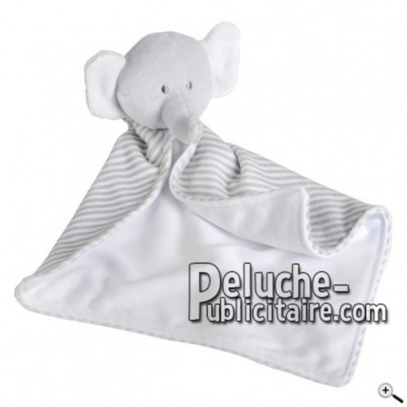 Buy White elephant doudou 35cm. Personalized Plush Toy.