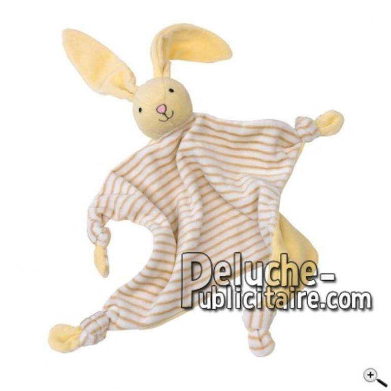 Achat doudou lapin jaune 37cm. Peluche personnalisée.