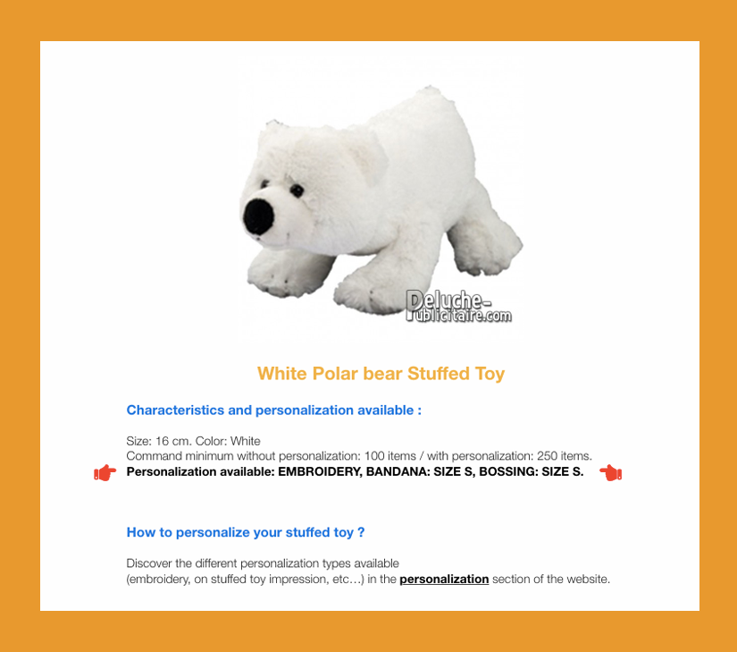 polar bear plush toy to customize