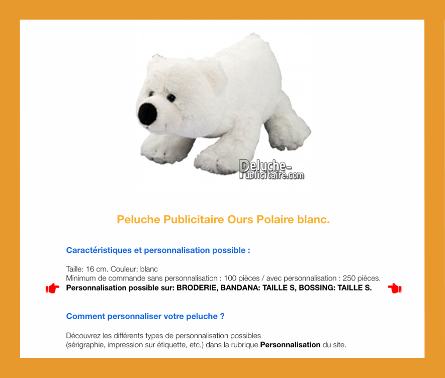 peluche à personnaliser ours blanc